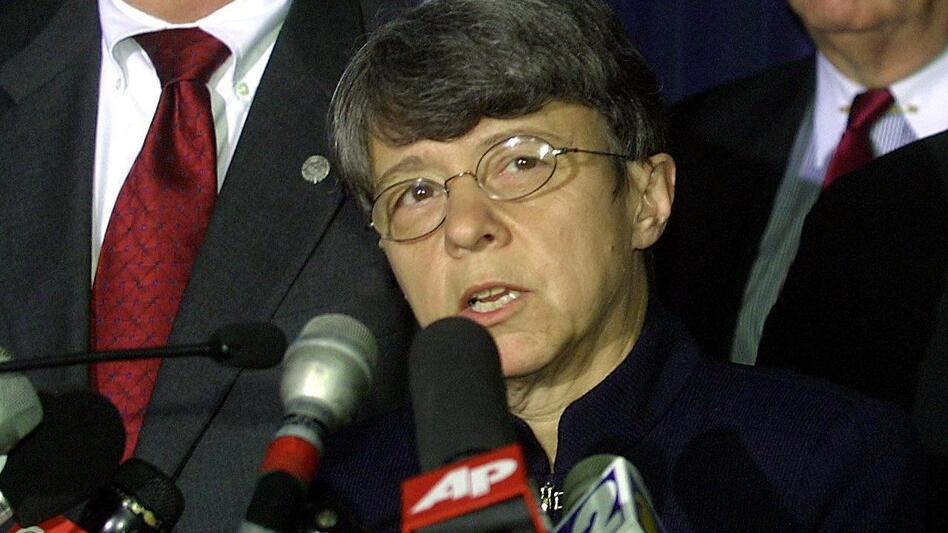 Mary Jo White, then U.S. Attorney for the Southern District of New York, speaks during a May 2001 press conference following guilty verdicts in the trial of four followers of Osama bin Laden that bombed two U.S. embassies in East Africa in 1998. President Obama intends to nominate White to head the Securities and Exchange Commission. (AFP/Getty Images)
