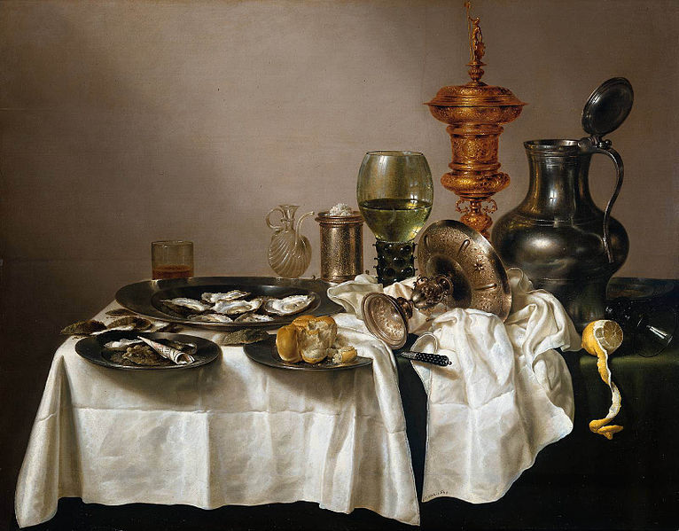 Still life with oysters, a rummer, a lemon and a silver bowl (1634), by Willem Claeszoon Heda
