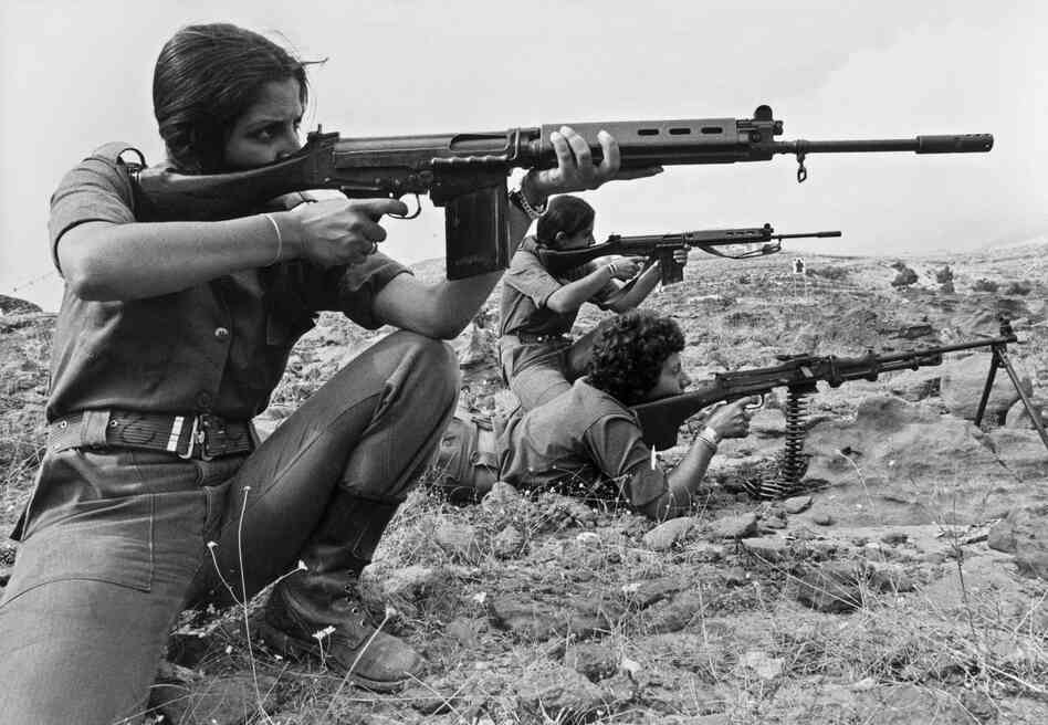 Christian Lebanese women, members of Kataeb Phalangist party, train with weapons on Sept. 9, 1976. The Lebanese civil war erupted a year earlier.