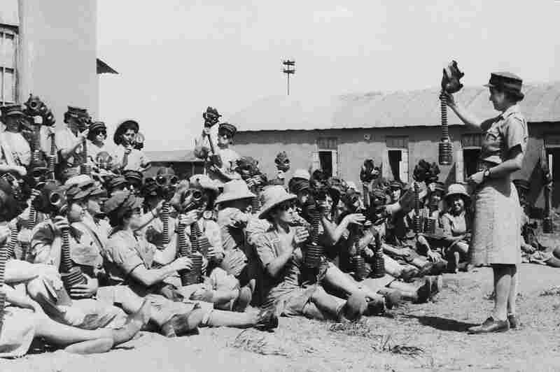 Jewish women in the Palestine Auxiliary Territorial Service of the British Army learn how to use gas masks, Oct. 14, 1942. Many of them were in service on the Egyptian front.