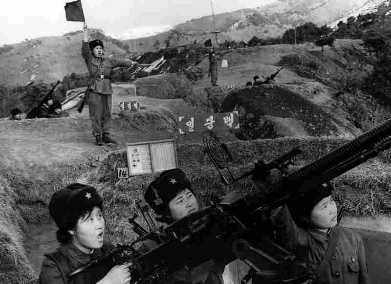 Female members of the North Korea Worker-Peasant Red Guards undertake air defense training in 1970.