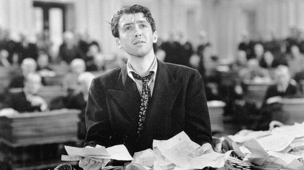 "Actor Jimmy Stewart in a scene from the 1939 movie Mr. Smith Goes to Washington, which popularized the notion of a ""talking filibuster."" Even under changes negotiated in the Senate, the talking filibuster remains a thing of the past."