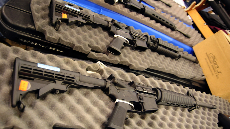 Semi-automatic assault-style rifles on display at a gun show in Chantilly, Va., in 2009. (AFP/Getty Images)