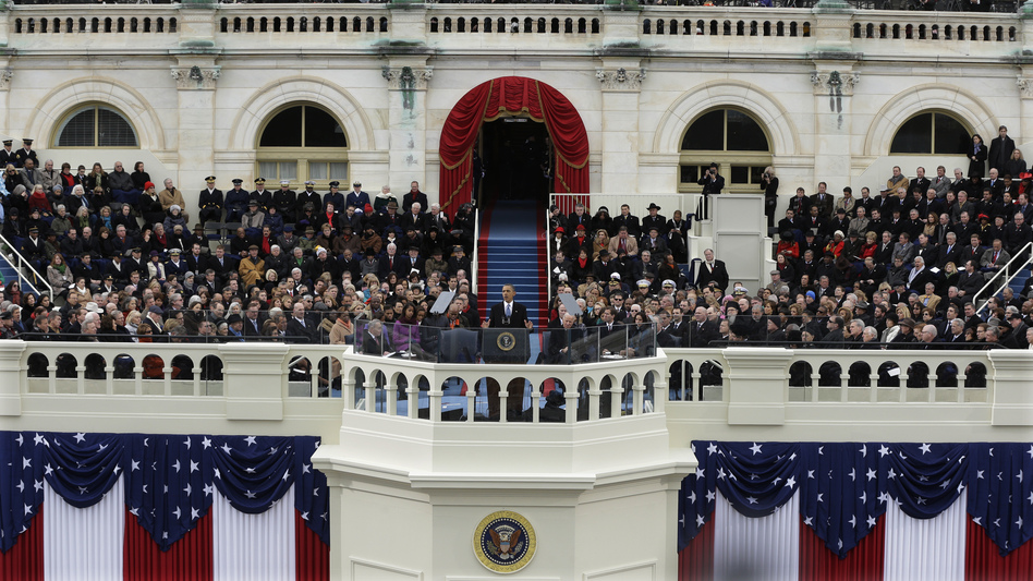 For his second inaugural address, President Obama defended government as central to harnessing the energy of American individuals. (AP)