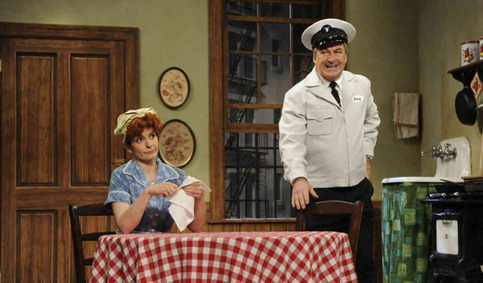 Tina Fey and Alec Baldwin appeared in one of several parodies in one of 30 Rock's live episodes.