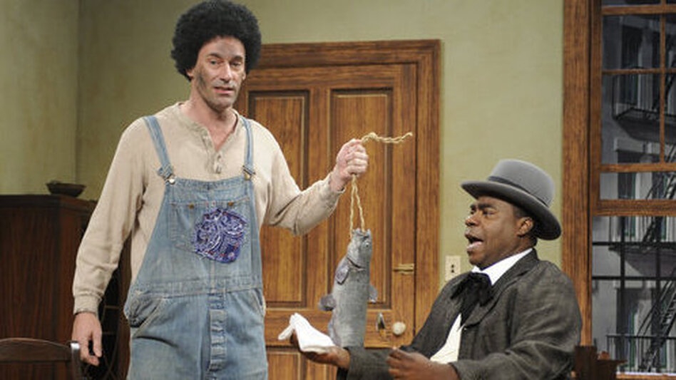 On on 30 Rock episode, Jon Hamm and Tracy Morgan appeared together in a sketch about racial stereotyping. (NBC)