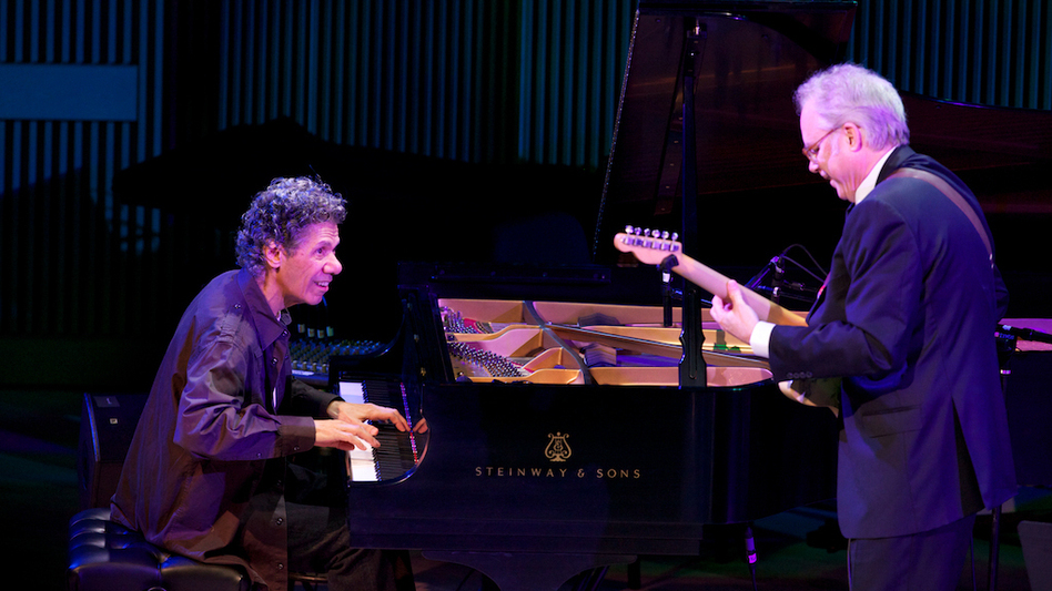 Chick Corea (piano) and Bill Frisell duet during the opening night concert at the new SFJAZZ Center. (Courtesy of SFJAZZ)