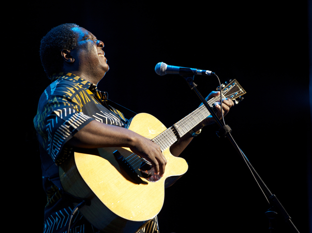 Vusi Mahlasela's new album, a live recording of his 20th-anniversary show in Johannesburg, is titled <em>Sing to the People</em>.