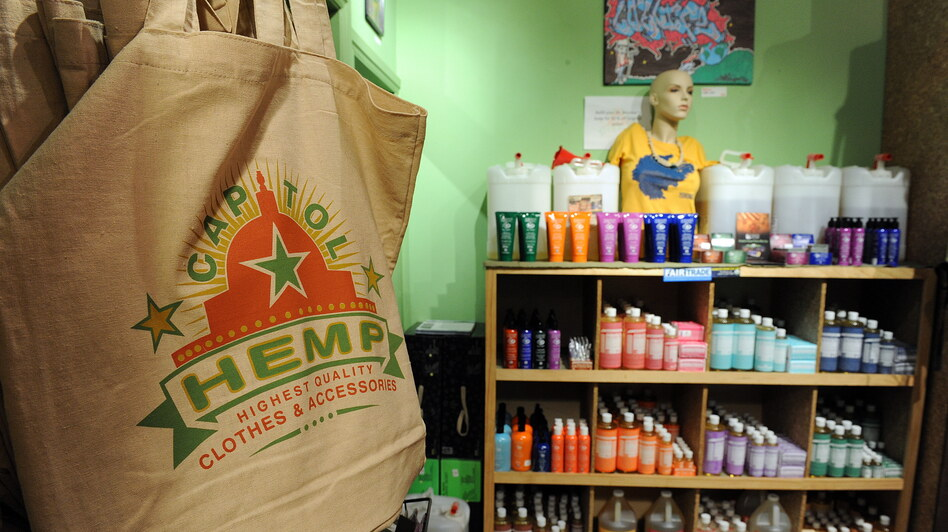 Hemp products for sale in Washington, D.C., in 2010. The U.S. is the world's largest consumer of hemp products, although growing hemp is illegal under federal law. Colorado recently passed a measure that legalizes growing hemp. (AFP/Getty Images)
