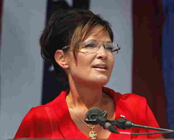 """Sarah Palin, former governor of Alaska and 2008 Republican vice presidential candidate speaks at a """"Patriots in the Park"""" Tea Party rally at the Wayne County, Mich., fairgrounds in July."""