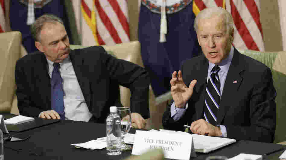 Vice President Joe Biden participates in a round-table discussion on gun violence at Virginia Commonwealth University with Sen. Tim Kaine, D-Va., on Friday. The panelists included people who worked on gun safety after the 2007 Virginia Tech shooting.