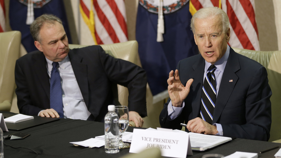Vice President Joe Biden participates in a round-table discussion on gun violence at Virginia Commonwealth University with Sen. Tim Kaine, D-Va., on Friday. The panelists included people who worked on gun safety after the 2007 Virginia Tech shooting. (AP)