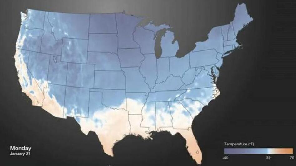 An image from the animated look at how cold air has spread over the nation. (NOAAVisualizations)