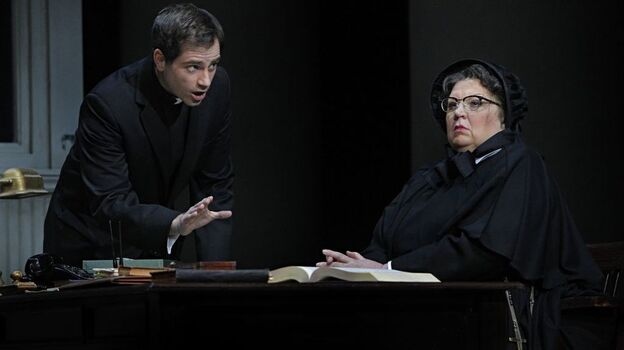 In the operatic version of Doubt, Father Flynn (Matthew Worth) must defend his name after a suspicious Sister Aloysius (Christine Brewer) accuses him of sexually abusing an altar boy. (Minnesota Opera)
