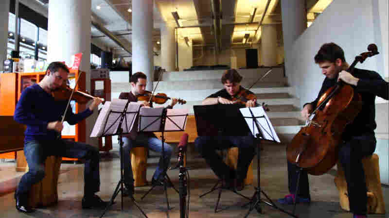 The Ebene Quartet performs at powerHouse Arena in Brooklyn, New York, in August 2012.