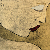 woodcut portrait of a woman in profile