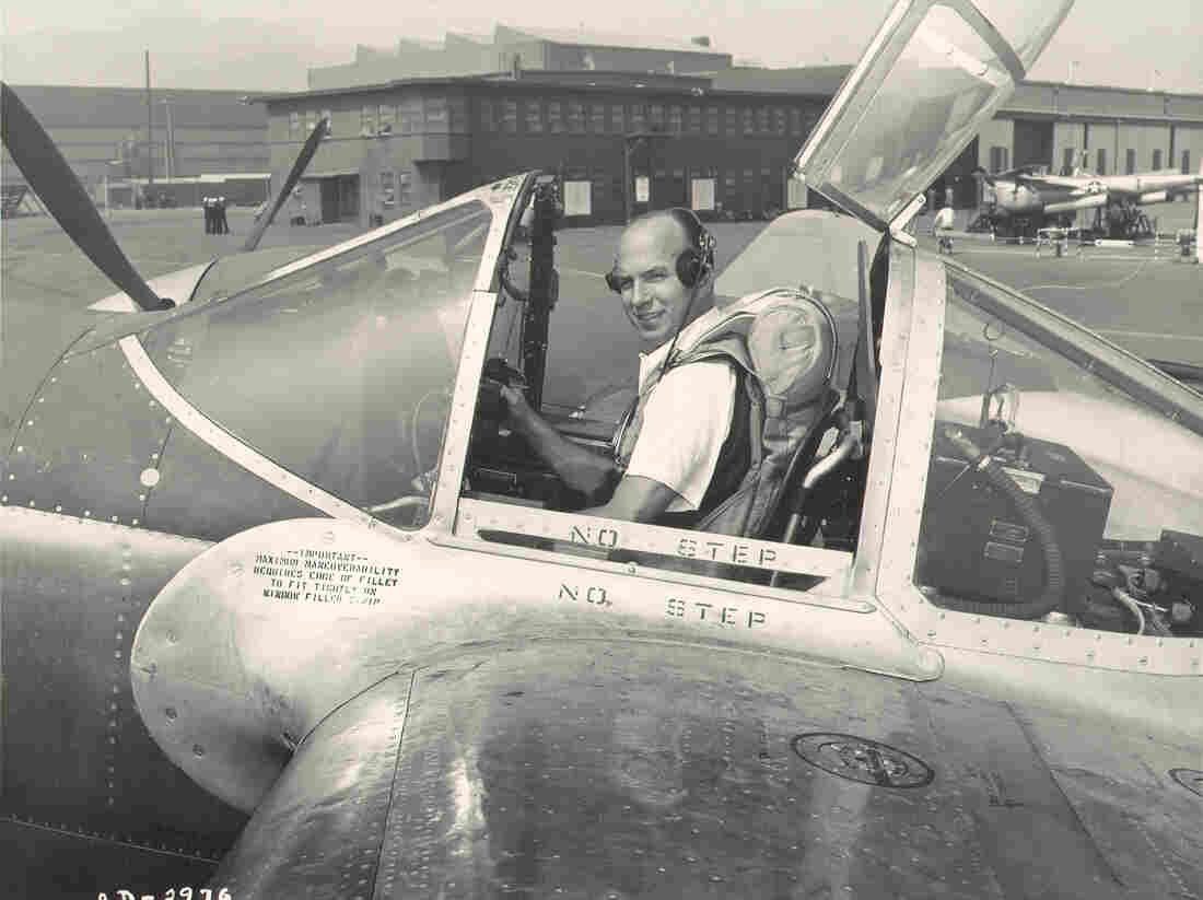 Van Heusen in his second life as a World War II-era test pilot.