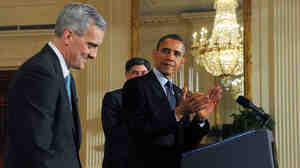 "New White House Chief of Staff Denis McDonough (left), at Friday's announcement. Behind the president: outgoing Chief of Staff Jacob ""Jack"" Lew, who has been nominated to"