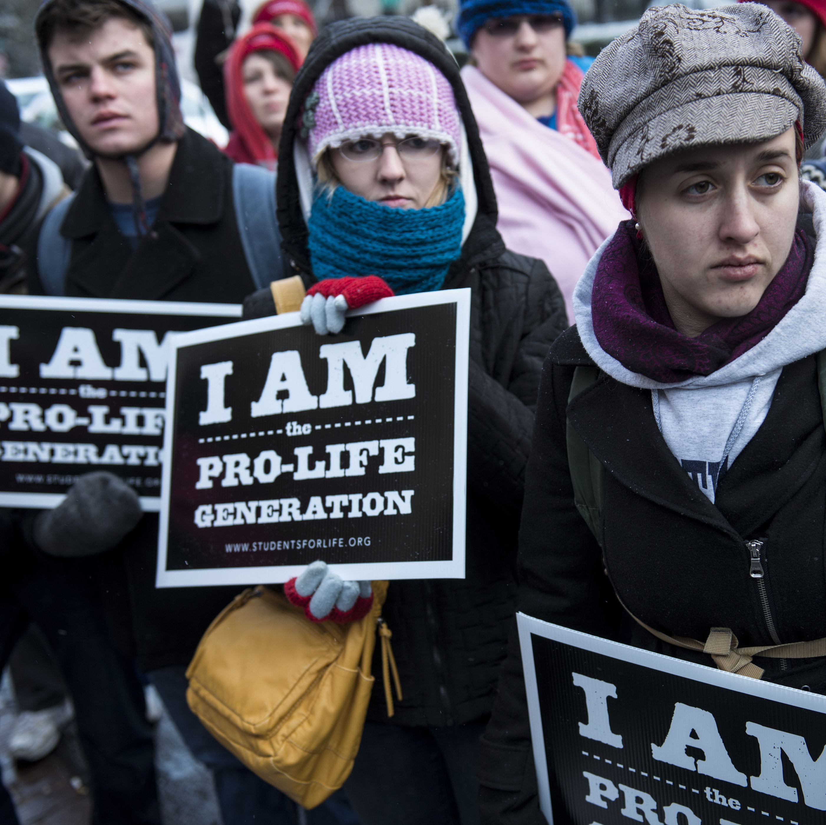 Anti-abortion activists at a protest Thursday outside the offices of Planned Parenthood in Washington, D.C. Friday, hundreds of thousands are expected at the March for Life rally.