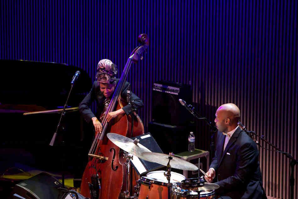 "Accompanied by drummer Eric Harland, Esperanza Spalding essayed her take on ""Look No Further."""