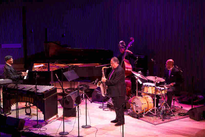 "Tyner played his ""Walk Spirit, Talk Spirit"" with Joe Lovano (sax), Esperanza Spalding (bass) and Eric Harland (drums)."