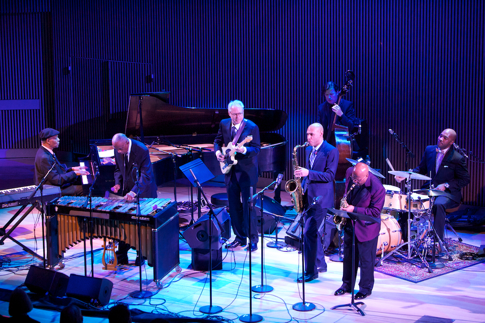 "Tyner played his ""Blues On The Corner"" with Bobby Hutcherson (vibraphone), Bill Frisell (guitar), Joshua Redman (tenor saxophone), John Handy (alto saxophone), Matt Penman (bass) and Eric Harland (drums). (Courtesy of SFJAZZ)"