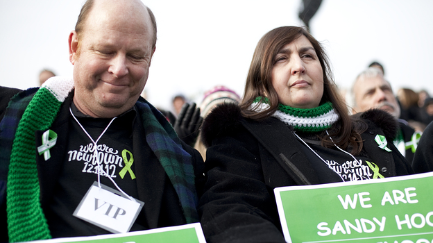 Newtown, Conn., residents Darren Wagner and Georgia Monaghan traveled to Washington, D.C., to attend the gun control rally on Saturday. (NPR)