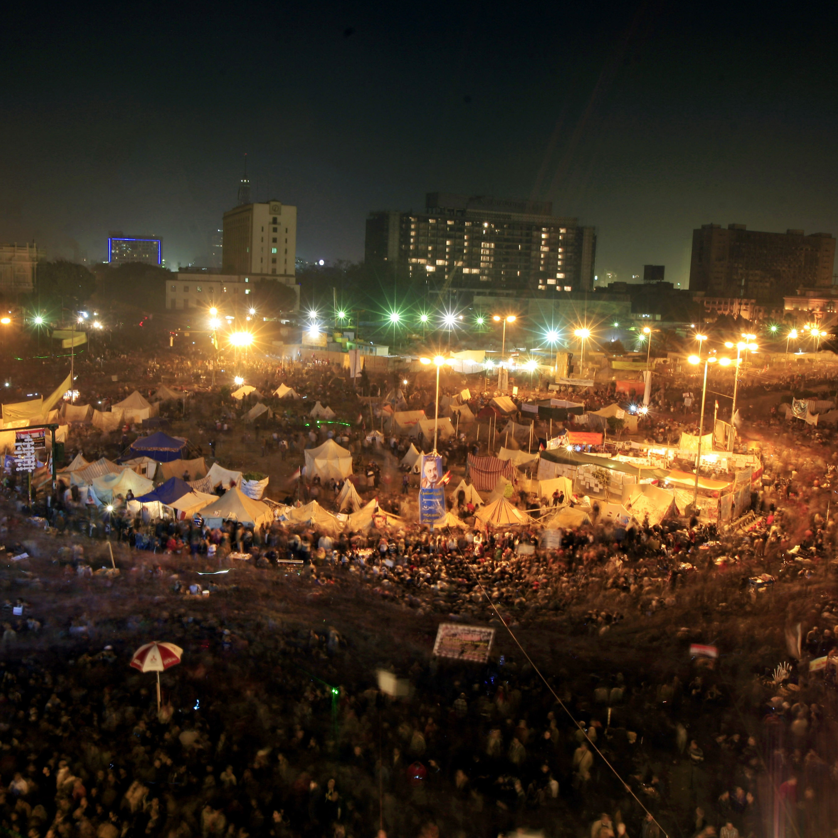 Thousands of Egyptian protesters gather in Cairo's Tahrir Square on Friday, marking two years since the start of the country's revolution.