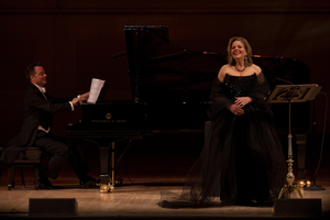 """Each singer also sang a set of songs by herself. Fleming chose a pair of songs by Claude Debussy, ending with """"Beau Soir,"""" one of the highlights of the evening."""