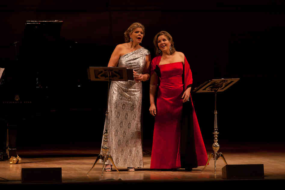 What does an opera diva do at intermission? Change gowns, of course. Susan Graham (left) told
