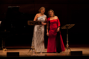 """What does an opera diva do at intermission? Change gowns, of course. Susan Graham (left) told the Carnegie Hall audience: """"Two Divas, four gowns. Come on."""""""