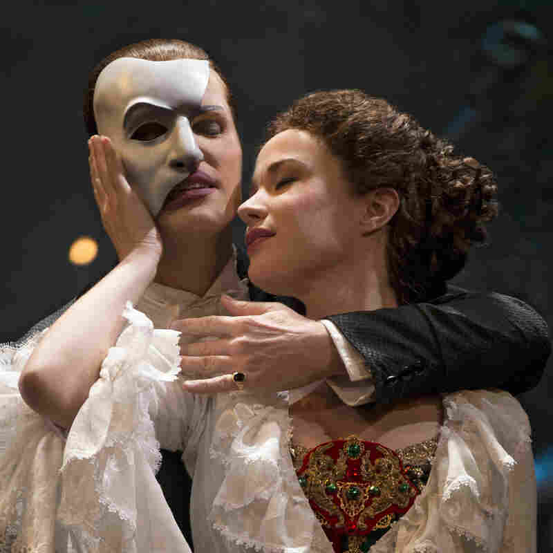 Hugh Panaro is The Phantom and Sierra Boggess is Christine in the 25th anniversary cast of The Phantom of the Opera on Broadway.