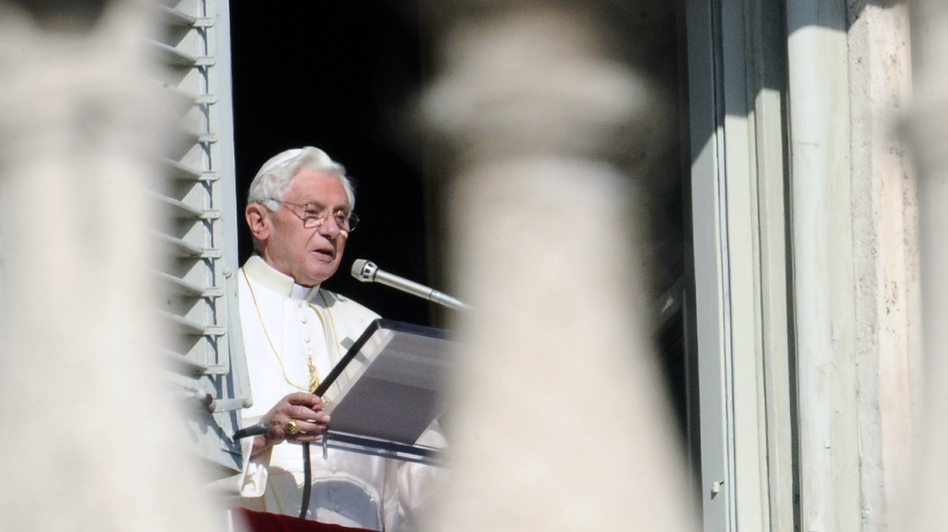 Pope Benedict XVI leads prayers on Nov. 27, 2011, in St. Peter's Square at the Vatican. The leader of the world's Roman Catholic Church called for a