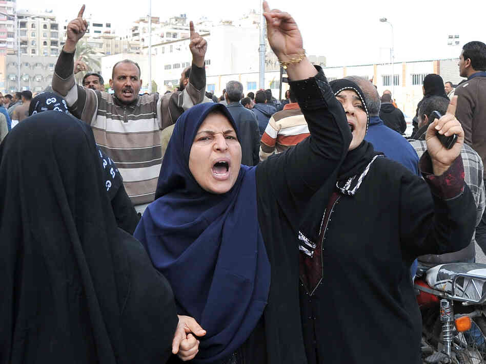Mourners shouted during a funeral procession today in Port Said, Egypt, for some of those killed during Saturday's pr