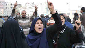Mourners shouted during a funeral procession today in Port Said, Egypt, for some of those killed during Saturday's protests.