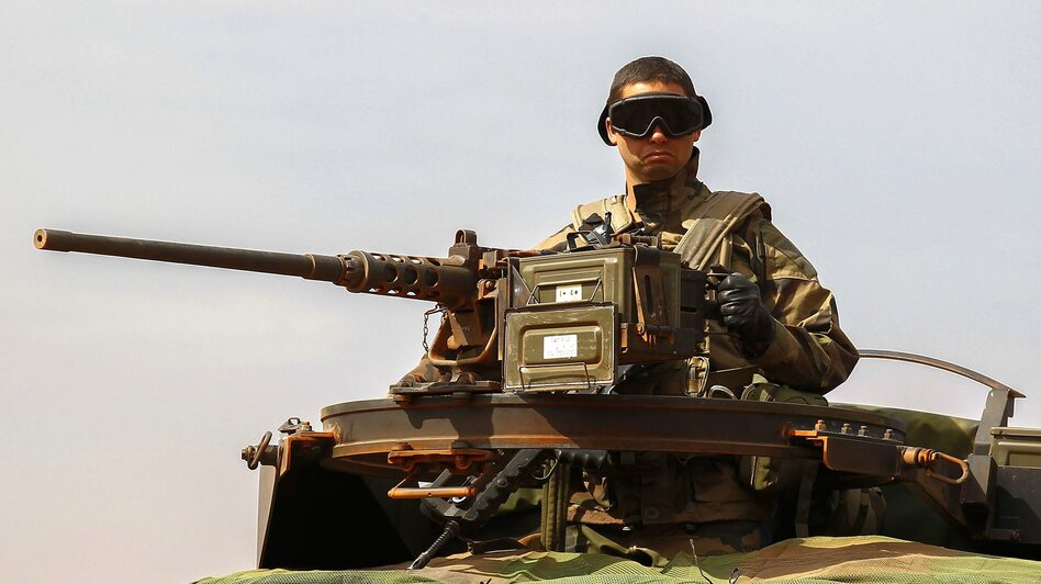A French soldier in central Mali on Sunday.