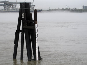 The Mississippi River is flowing at near normal levels again in New Orleans, as measured by this old-fashioned st