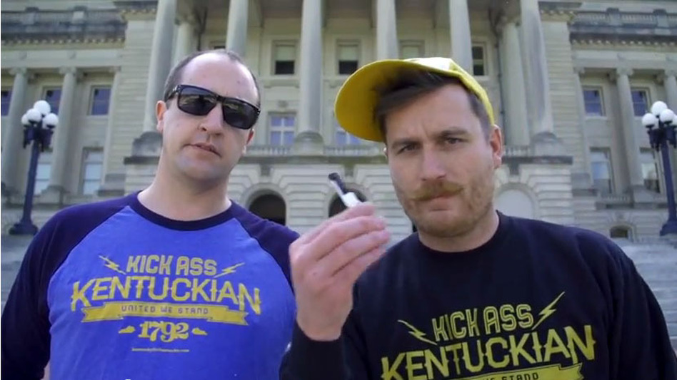 Whit Hiler (left) and Griffin VanMeter are spearheading the campaign to change Kentucky's slogan from Unbridled Spirit to Kentucky Kicks Ass. (KentuckyForKentucky)