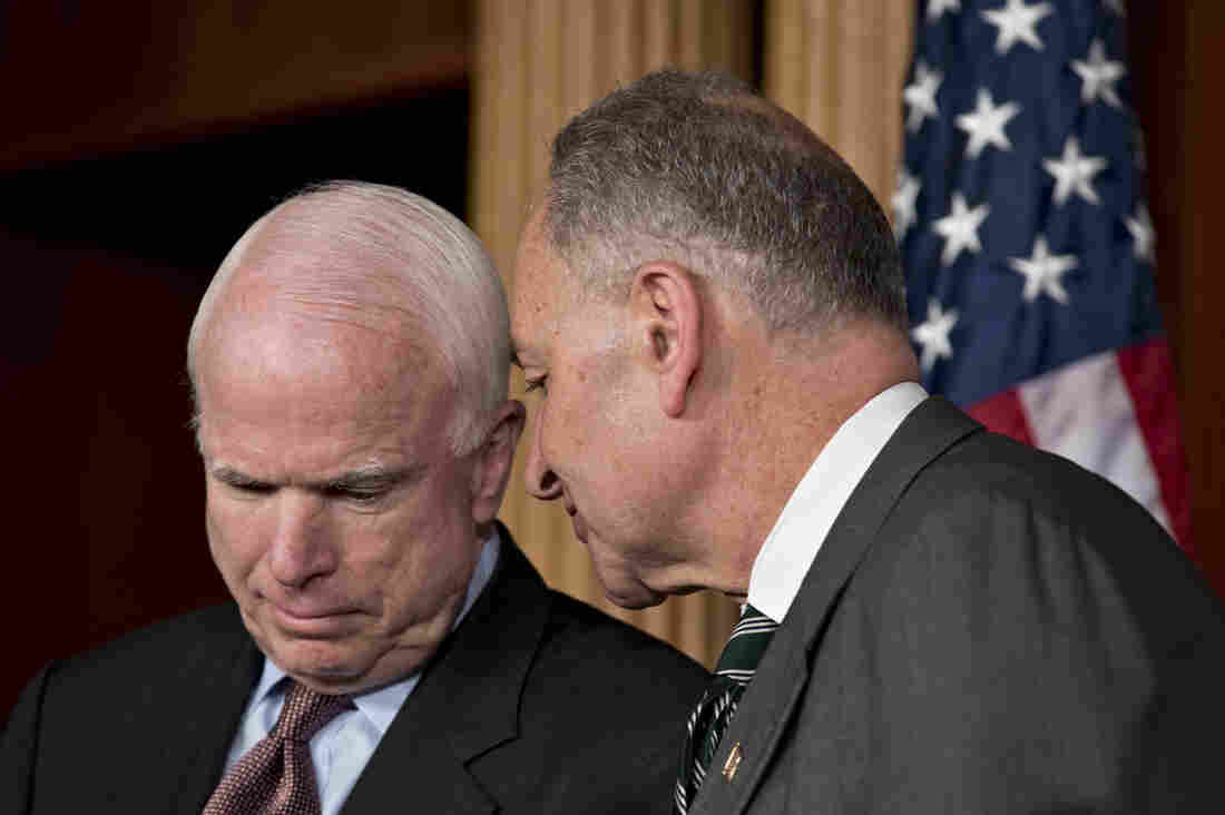 Sens. John McCain, R-Ariz., and Charles Schumer, D-N.Y., are closer on the immigration issue than McCain is to many in his party. They were among the eight senators who announced the framework for a bipartisan immigration overhaul on Monday.