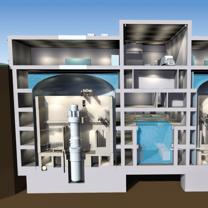 A cutaway rendering of Babcock & Wilcox's mPower reactor. The vertical tubes are the nuclear reactor chambers.