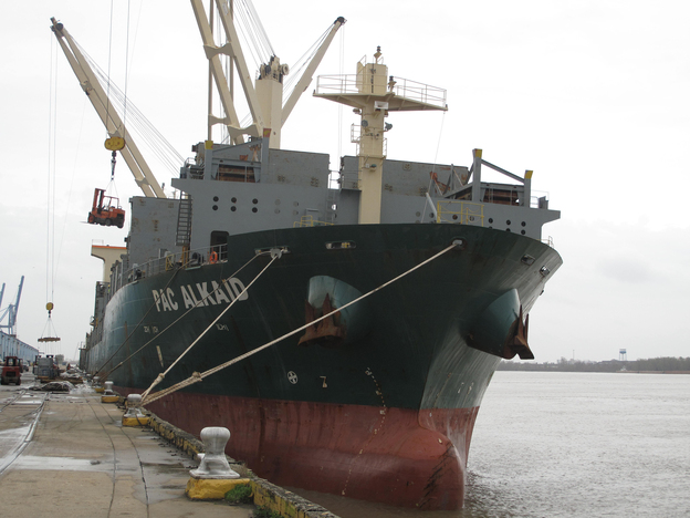 International ships call at the busy Port of New Orleans.  It's a major shipping convergence point on the Mississippi River. Ships come upriver from the Gulf of Mexico with imports from abroad, and barges come downriver, bringing U.S. goods for export.