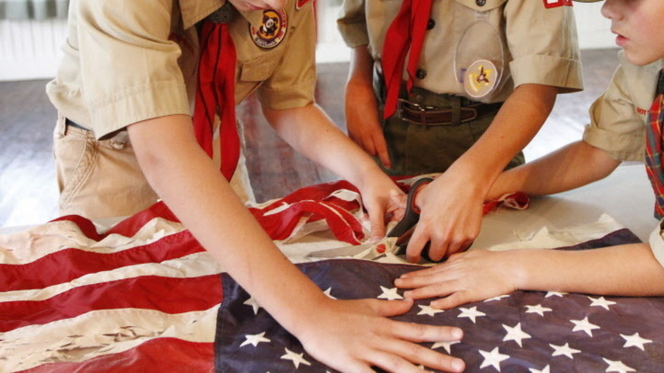 In Mississippi last month, scouts took part in a flag retirement ceremony. (AP)