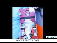 An image from Iran's state-controlled Press TV showing the monkey that was reportedly sent into space today strapped into its seat.