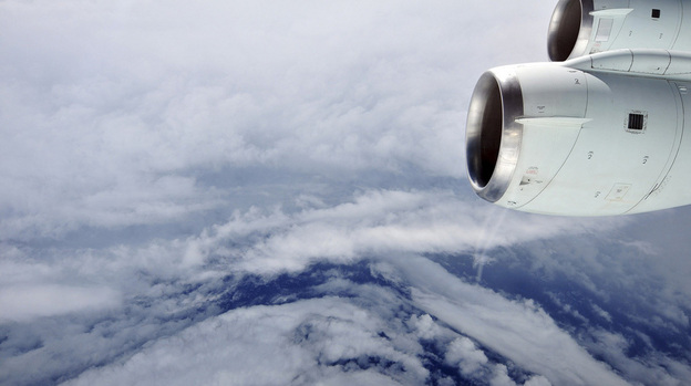 The eye of Hurricane Earl in the Atlantic Ocean, seen from a NASA research aircraft on Aug. 30, 2010. This flight through the eyewall caught Earl just as it was intensifying from a Category 2 to a Category 4 hurricane. Researchers collected air samples on this flight from about 30,000 feet over both land and sea and close to 100 different species of bacteria. (NASA)
