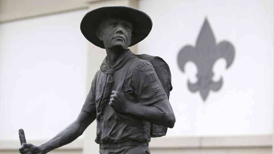 A statue of a Boy Scout stands in front of the National Scouting Museum in Irving, Texas.
