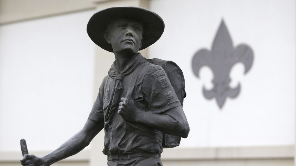 A statue of a Boy Scout stands in front of the National Scouting Museum in Irving, Texas. (AP)