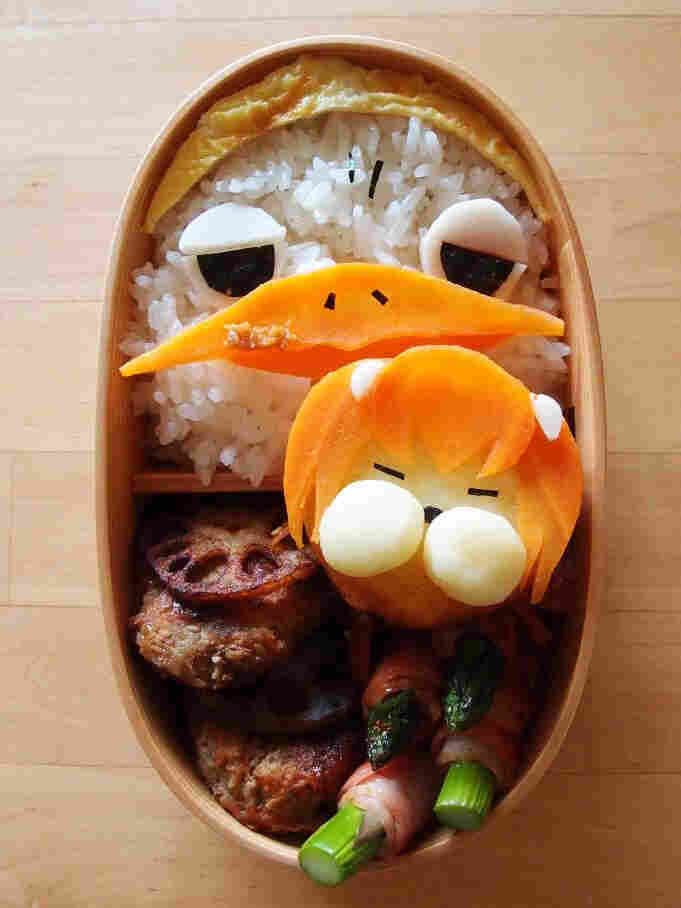 A kyaraben, or character bento, inspired by characters from the anime Yondemasuyo, Azazel-san.