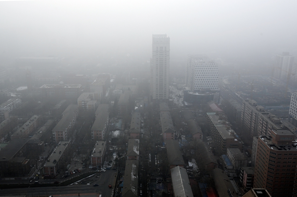 Downtown Beijing in the clouds of its latest air pollution emergency.