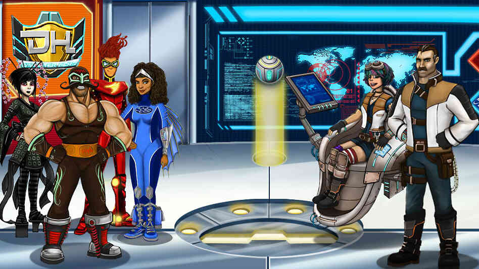 In Disaster Hero, disaster specialist Dante Shields (far right) and his sidekick Mika (seated) guide players through games about emergency preparedness.