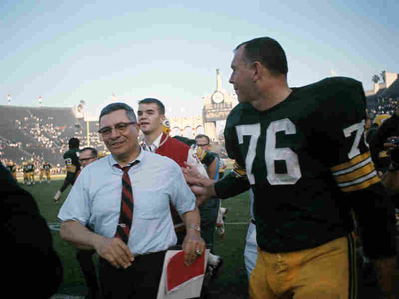 Victorious Green Bay Packers head coach Vince Lombardi with Bob Skoronski after winning Super Bowl I, 35-10, against the Kansas City Chiefs at Los Angeles Memorial Coliseum on Jan. 15, 1967.